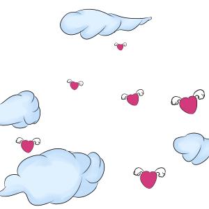 长翅膀的小爱心云彩云朵满天的小爱心