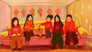2019猪年春节团圆小孩喜庆沙发排排坐