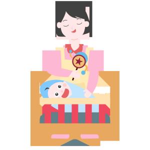 妈妈拿拨浪鼓哄宝宝睡觉