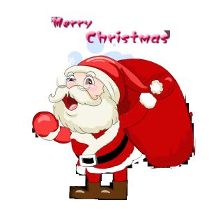 圣诞老人送礼物场景手绘