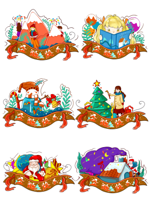 圣诞节欢庆圣诞卡通老人素材