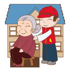 志愿者帮老奶奶按摩