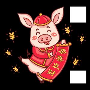 2019春节卡通手绘猪