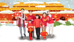 2019猪年合家欢春节团圆拜年瑞雪