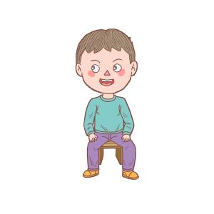 卡通手绘人物坐在板凳上男孩