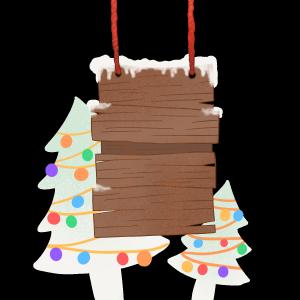 手绘圣诞风空白木板