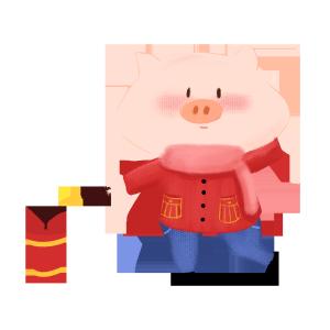 2019春节过年放鞭炮小猪