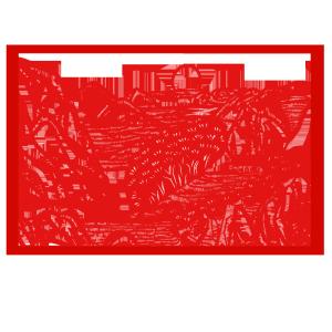 手绘中国风猪年世界名胜古迹风景区剪纸窗花浓云深处