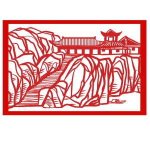 手绘中国风猪年世界名胜古迹故居古城剪纸窗花
