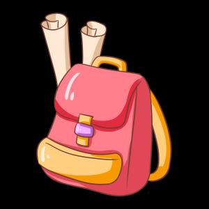 卡通红色女生背包
