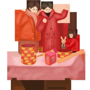 手绘中国风过新年拆礼物