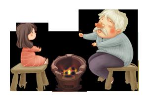 冬天里爷爷小女孩火炉边取暖