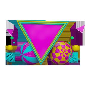 时尚彩球倒三角C4D背景板装饰素材