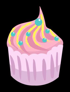 甜蜜粉红色的杯子蛋糕