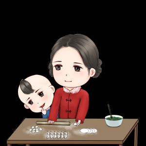 新年包饺子温馨场景手绘卡通人物包饺子场景