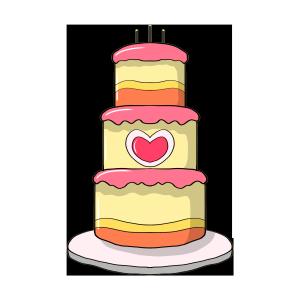三层卡通爱心蛋糕