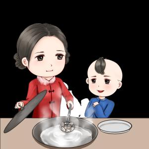 新年包饺子温馨场景手绘卡通人物包饺子煮饺子场景