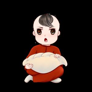 新年卡通萌娃抱大饺子可爱手绘过节吃饺子包饺子场景
