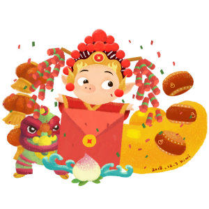 红红火火过新年之卡通戏服古装猪送大红包手绘