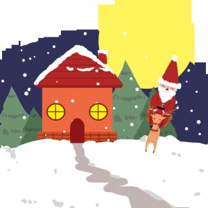 圣诞老人雪夜送祝福