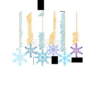 手绘卡通冬季圣诞节雪花挂件