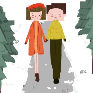 冬天安静的下午雪地散步