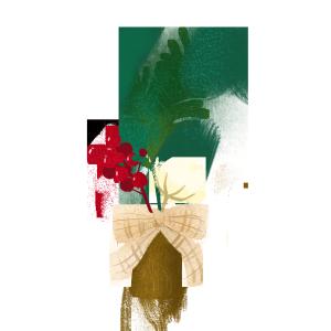 手绘ins风文艺小果子干花和花瓶PNG素材
