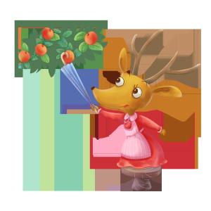 圣诞节小麋鹿拿雨伞摘苹果