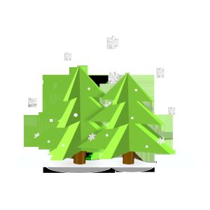 雪地中的圣诞树3D