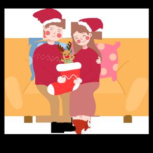 圣诞节卡通手绘宅在家过圣诞节的情侣