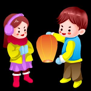 春节双人卡通手绘闹新春套图之放飞愿望灯PS源文件