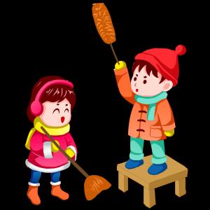 春节双人卡通手绘闹新春套图之过新年清扫大扫除