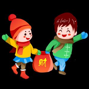 春节双人卡通手绘闹新春套图之财源滚滚送家来