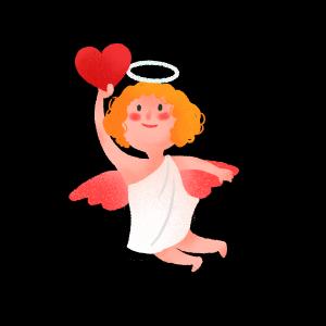 手绘可爱情人节丘比特