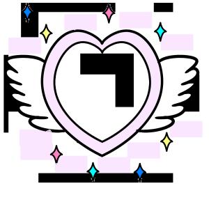 手绘粉色天使翅膀爱心