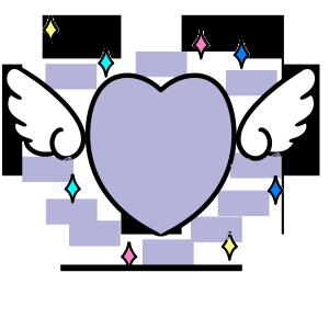 手绘蓝色天使翅膀爱心边框