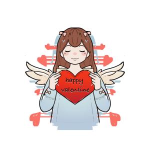 情人节爱心天使png免抠手绘插图