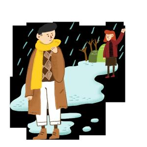 冬天冬季雪地里送别的爱人