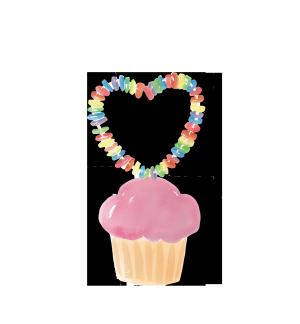水彩爱心纸杯蛋糕